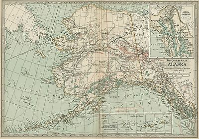 ALASKA Territory Map: Authentic 1897 (Dated) w/ Rivers, Towns, Gold Fields, Topo