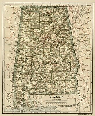 ALABAMA Map: Authentic 1907 (dated) with Counties, Towns, Topography, Railroads