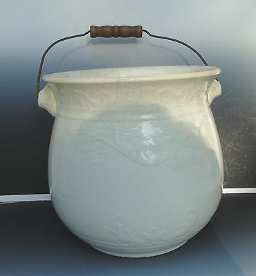 Antique White marked Porcelain Chamber Pot Wire Wood Handle Raised Decoration