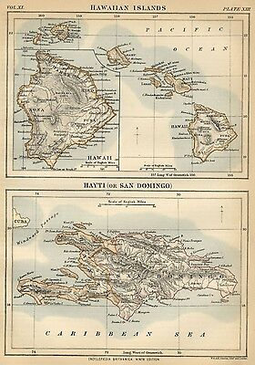 Hawaii and Haiti: Authentic 1889 Map showing Cities; Topography (Smallish!)