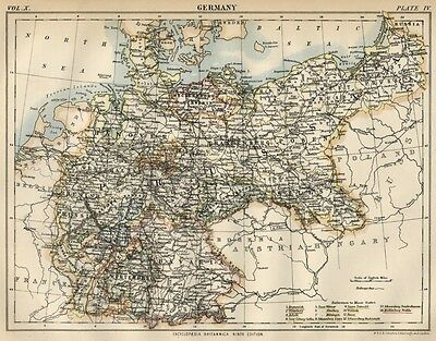 Germany: Authentic 1889 Map showing States; Kingdoms; Cities; Topography