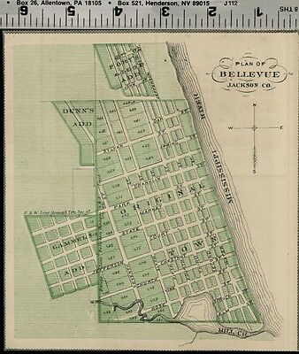 Bellevue Iowa Street Map / Plan (Jackson County); Authentic 1875 Item