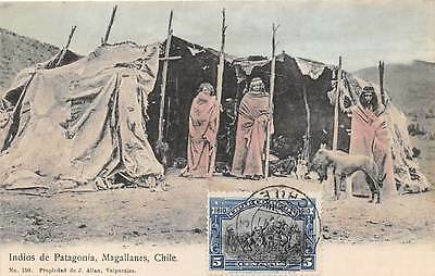 MAGALLANES, CHILE, INDIANS FROM PATAGONIA POSING OUTSIDE THEIR HOME, used 1911