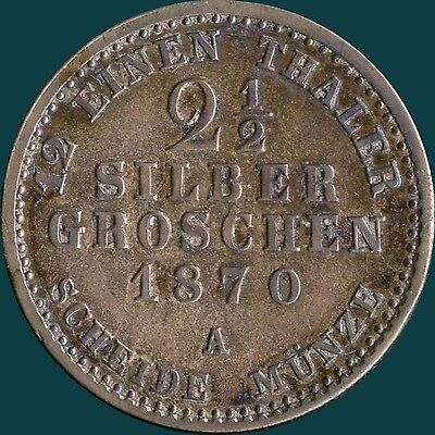 "Germany ""Prussia"" 1870 'A' 2 1/2 Silber Groschen Coin ( 3.24 Grams .375 Silver )"