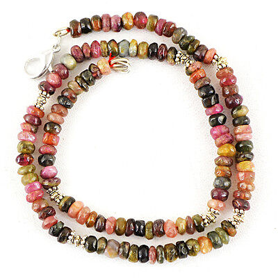 154.00 Cts Natural Watermelon Tourmaline Untreated Round Beads Necklace (Dg)