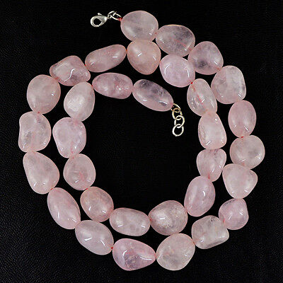 AAA 358.50 CTS NATURAL 2 STRAND RICH PINK ROSE QUARTZ UNTREATED BEADS NECKLACE
