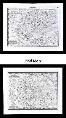 1865 Von Sydow Star Map - 2 Charts - North & South Sky Astronomy Cosmos Zodiac