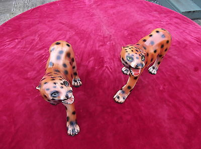 Vintage Retro 1960's Ceramic Leopard Pair / Bengal Tiger / African Lion / Animal