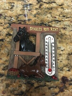 """Spoontiques """"Stables for Rent"""" Magnet w/Thermometer"""