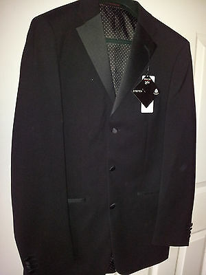 Tuxedo Dinner Suit Jacket + Trousers  New with Tags Black