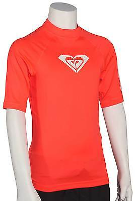Roxy Girl's Whole Hearted SS Rash Guard - Neon Grapefruit - New