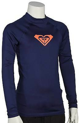 Roxy Girl's Whole Hearted LS Rash Guard - Blue Depths - New