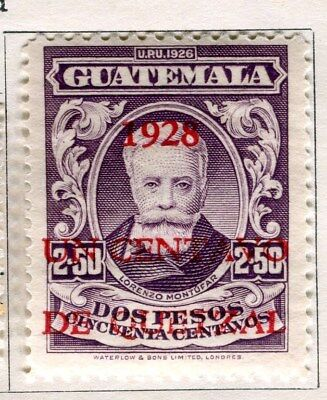 GUATEMALA;  1928 early pictorial surcharged issue Mint hinged 1c.