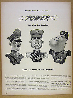 1942 Hitler Hirohito & Mussolini caricatures Electric Companies vintage print Ad
