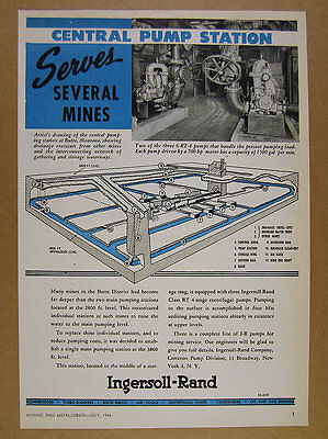 1944 Ingersoll-Rand BUTTE MONTANA Mines Central Pumping Station vintage print Ad
