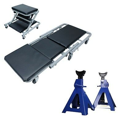 WORKSHOP KIT ROLL BOARD AND SEAT MECHANICS CREEPER LOUNGER +2x 6 TON JACK STAND