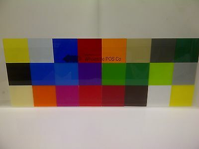 "Genuine Cast Perspex Acrylic Plastic Rigid Sheet 24 Different Colours 1/8"" Thick"
