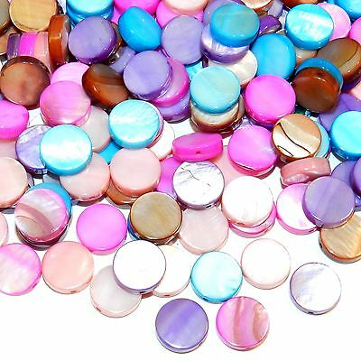 MPL2493 Assorted Color 10mm Flat Round Coin Mother of Pearl Shell Beads 50/pkg