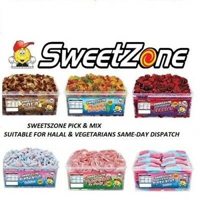 Sweetzone Jelly Tubs Various Varieties 100% Halal Hmc Fizzy Pencils Candy Sweets
