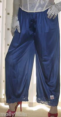 Blue vintage style silky nylon pantie slip~pettipants~culottes~bloomers 20~22