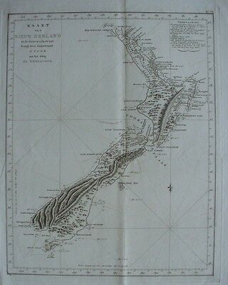 New Zealand,Cook,original antique map,c.1778,Dutch edition