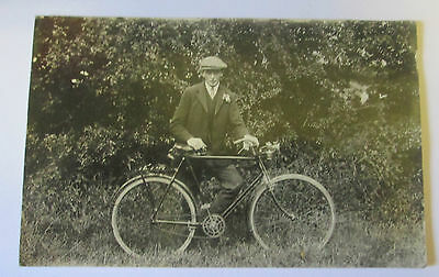 Early 1900's Man With Bicycle Real Photo  Postcard