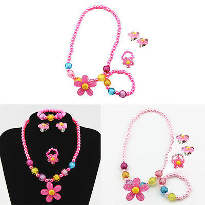 Girl Imitation Pearls Child Set Kids Baby Jewerly Necklace Bracelet Earrings Set