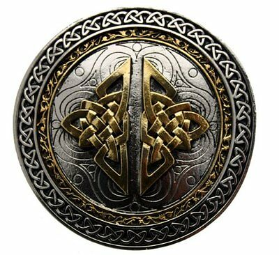 Celtic Round Belt Buckle With Gold Plate Detailing In Gift Box + Display Stand.