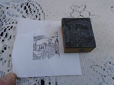 Ruins of Old Church Garden Printing Block Letterpress Graphic Arts