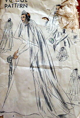 LOVELY VTG 1950s BRIDAL VEIL CORONET & CAP VOGUE Sewing Pattern