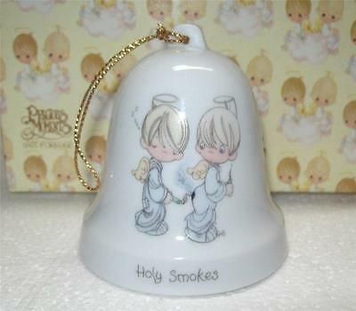 "Vintage1985 Enesco PRECIOUS MOMENTS Christmas Hanging  Bell ""HOLY SMOKES"" ANGEL"
