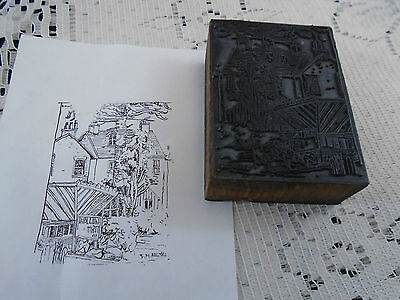 Artist Signed Homestead & Gardens Printing Block Letterpress Graphic Arts
