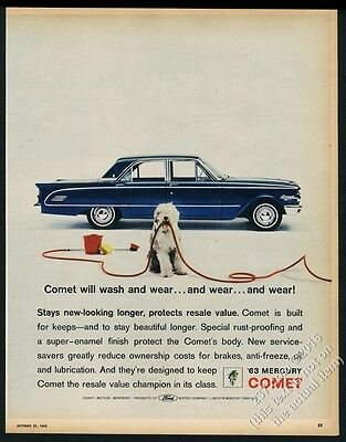 1963 Old English Sheepdog photo Mercury Comet blue sedan car vintage print ad