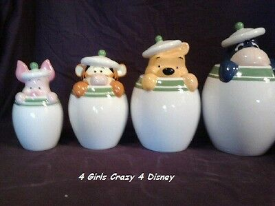 DISNEY Winnie the Pooh , Piglet, Eeyore ,Tigger New n box 4 piece canister set