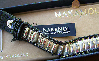 Men's bracelet Nakamol  Gunmetal Gray and black Stainless steel and leather