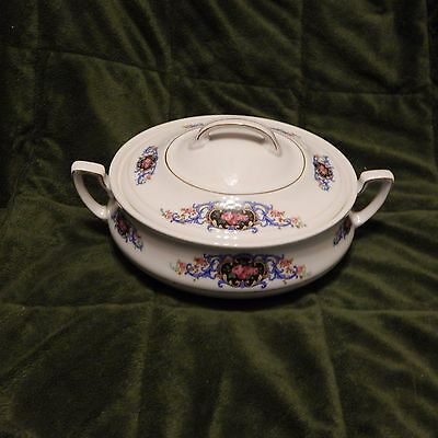 Victoria China, Czechoslovakia Covered Serving Dish, Scrolls With Pink Roses #1