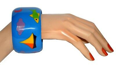 Multi Color Marquetry Resin Bangle Bracelet With Fish And Boat