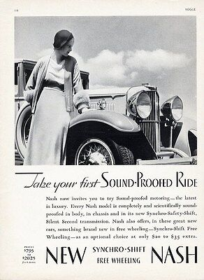 NASH Auto Car Ad 1932 Sound Proofed Ride - Woman and Front End of Car Headlights
