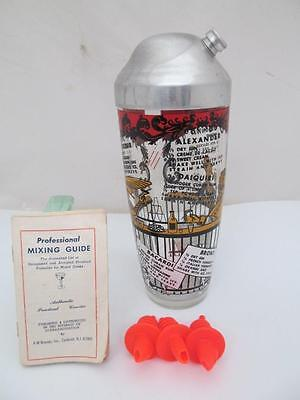 Vintage Cocktail Mixed Drink Shaker Glass Professional Mixing Guide Recipes