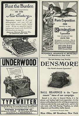 Typewriters: Remington; Underwood; Densmore; American Writing Machine 1900 Ad