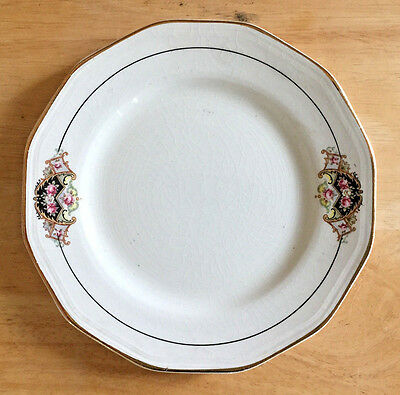Bread Plate Twelve Sided Unmarked Gold Rim Black Navy Border Line Pink Roses