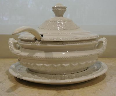 Vintage White Italian Soup Tureen, Serving Pate and Ladle