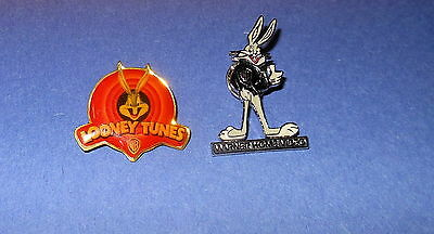 Warner Bros Looney Tunes Emblem & Bugs Bunny Cloisonne Pin lot (2) Home Video