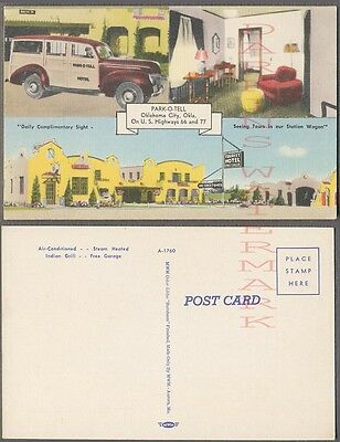 Vintage Car Postcard 1939 Ford Woodie Route 66 Park O Tell Oklahoma 740031