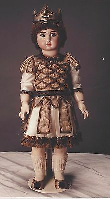 """29-30""""antique Prince Charming Boy Doll Suit&crown&shoes Pattern French-German"""