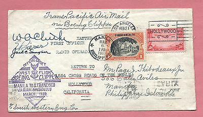 1939 Mixed Frank Clipper Flight To Philippines Return Signed Capt & Crew * Rare