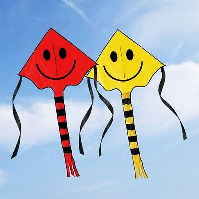 Cute Smiley Face Kite Easy to Fly Single Line Fun Childrens Kids Toy Colors T7U0
