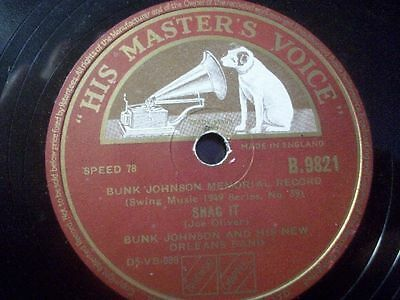 """BUNK JOHNSON AND HIS NEW ORLEANS BAND """"Franklin Street Blues / Snag It"""" HMV 10"""""""