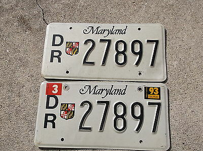 Maryland 1993 DR  License Plate  pair # 27897