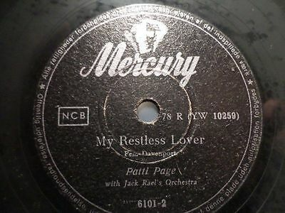 """PATTI PAGE & ORCH. JACK RAEL """"My Restless Lover / Cross Over The Bridge"""" Mercury"""